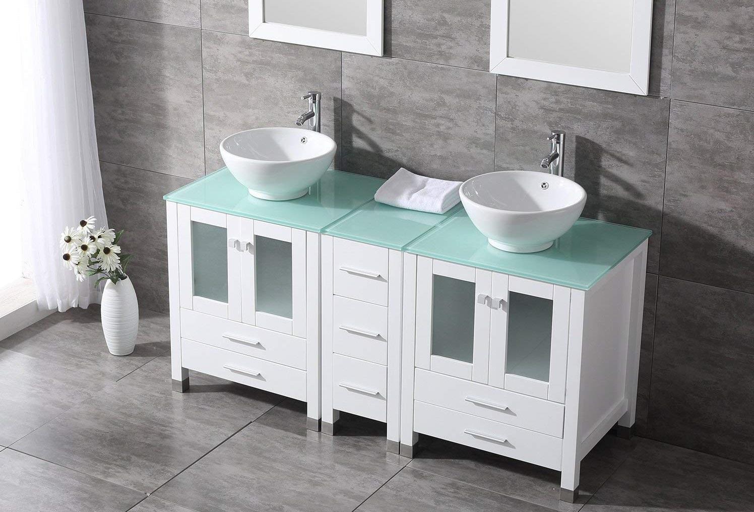 lavamanos doble con almacenamiento